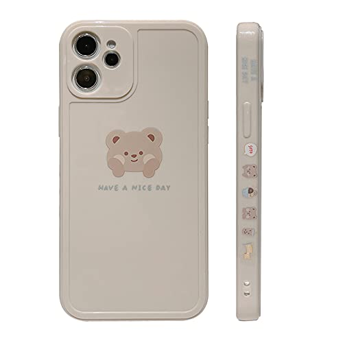 YKCZL Compatible with iPhone 12 Case[Not fit iPhone 12 Pro 6.1 inch] Cute Painted Design Brown Bear with Cheeks for Women Girls Slim Stylish Soft TPU Cover for iPhone 12(White)