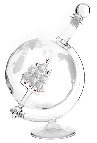 Lantelme Cognac Glas Whiskykaraffe mit Weltkugel Karaffe eingravierter Weltkarte Whisky auch für Wein Likör Snaps 4964