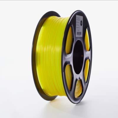 WANGYOUCAO 3D Printer PLA Filament 1.75mm for 3D Printers, 1kg(2.2lbs) +/- 0.02mm Transparent-Yellow Color 3D Printing Supplies (Color : Transparent Yellow)