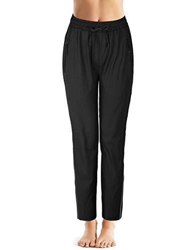 Nonwe Damen-Hose, schnelltrocknend, leicht, 2 Streifen, offener Saum, Damen, schwarz, XXL/31L
