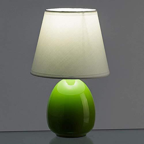 EURASIA® Lámparas de Mesita de Noche - Lámpara de Cerámica en Colores Tendencia - Medidas 15 x 15 x 24,50 cm (Verde)