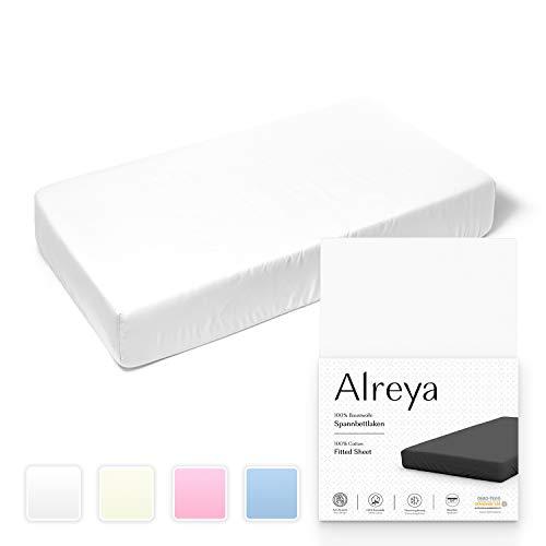 Alreya Sábana Bajera para Cuna bebé 100% algodón - 40x90 cm Blanco - Hipoalergénico Sin químicos - Certificado Oeko-Tex