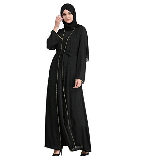 TEBAISE Muslimische Abaya Kleider Damen islamische Kleidung Lose Langarm Arabisch Langes Kleid Robe Muslim Indien Türkisch Kleid Dubai Kaftan Ramadan Kleider Gebet Abendkleid Hochzeit Kaftan Robe