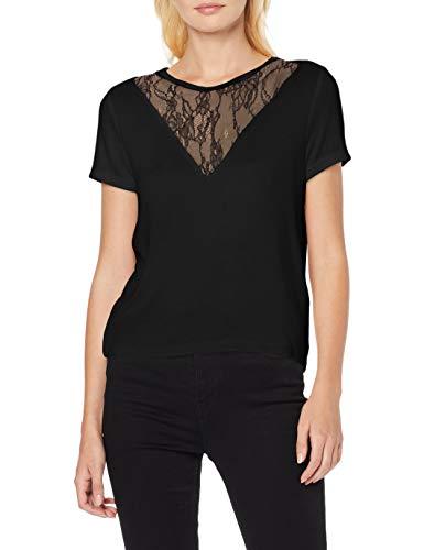 ONLY Damen ONLVIGGA LS Mix T-Shirt, Schwarz (Black Black), 38 (Herstellergröße: M)