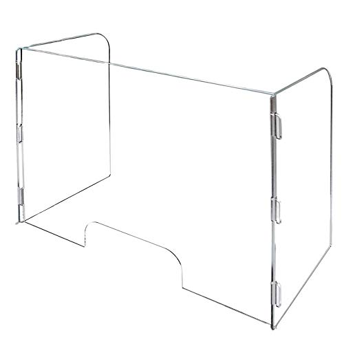 Vergo 3-Sided Desk, Table, Countertop Clear Plexiglass Sneeze Guard Barrier Acrylic Divider Shield Commercial Grade (31.5' W x 23.5' H with Window Slot)