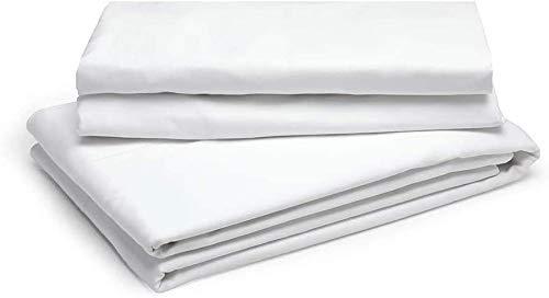 Linen Zone - Sábana de algodón egipcio, 400 hilos, 100% algodón egipcio/algodón/algodón egipcio/lino, Blanco, sábana para cama individual