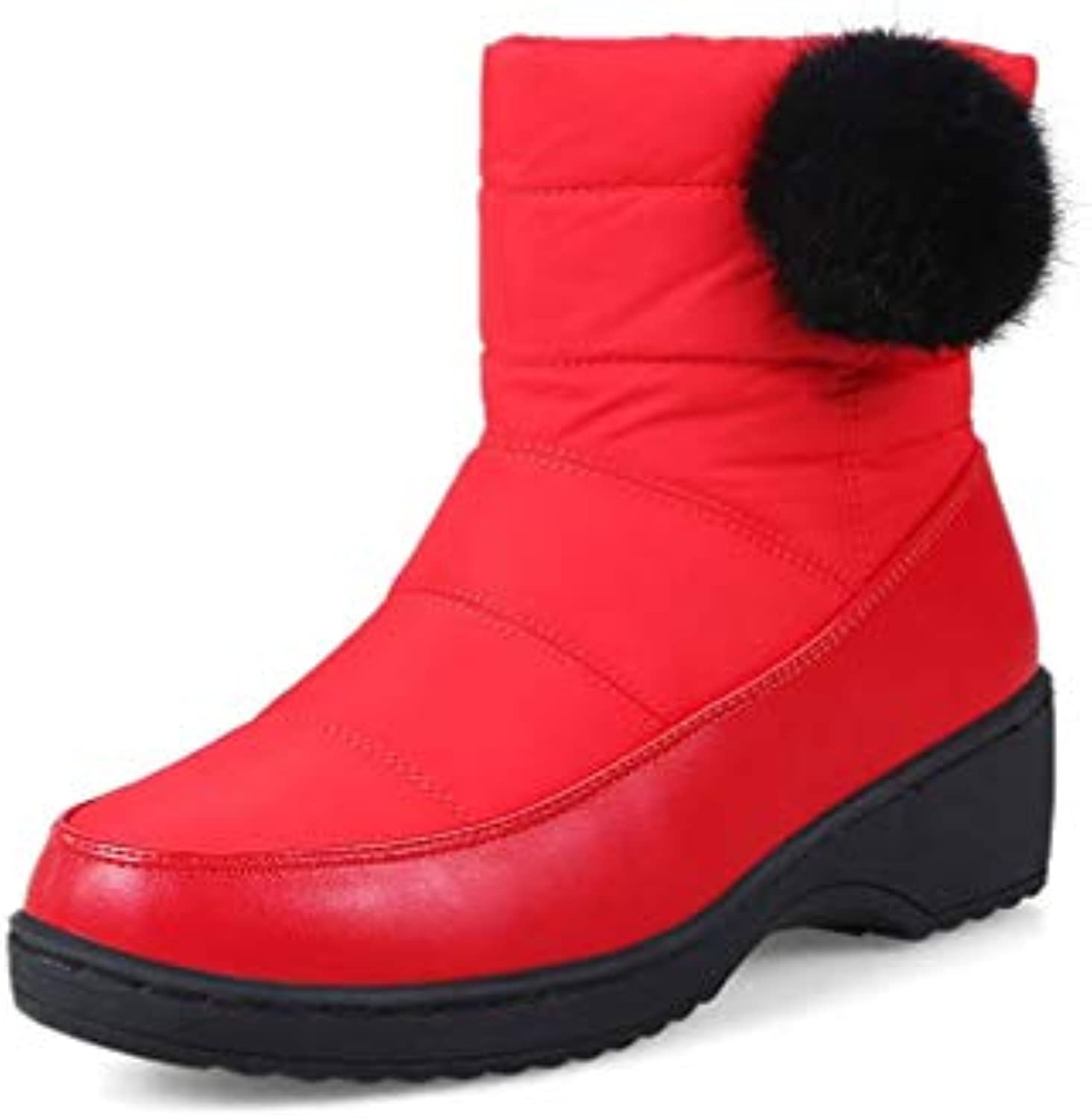 T-JULY Women New Russia Winter Snow Boots Fashion Waterproof Slip on Round Toe Boots Comfortable Ankle Boots