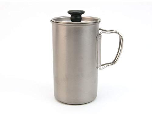 Snow Peak Titanium French Press, CS-111, Japanese Titanium, Lifetime Product Guarantee, Sustainable, Ultralight for Coffee While Backpacking and Camping