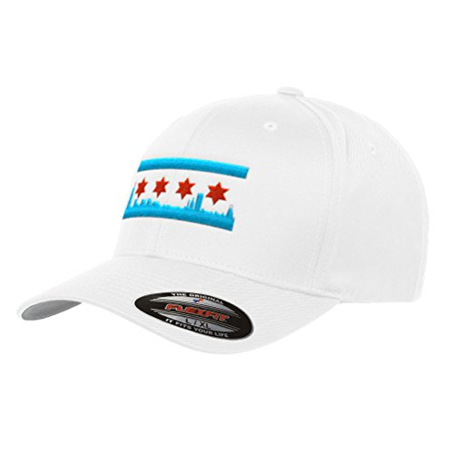 Chicago Skyline Flag Flexfit Premium Classic Yupoong Wooly Combed Hat 6277 LR (L/XL, White)