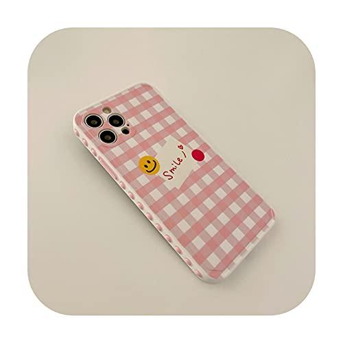 Patrones laterales lindos dibujos animados Smiley teléfono caso para iPhone 12 mini 11 Pro Max X XR XS Max SE 2020 7 8 Plus moda rejilla suave Shell-A865-2-para iPhoneXS