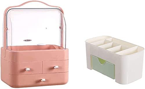 Recet schmuckkästchen damen Kosmetik Aufbewahrungsbox Kosmetikbox Aufbewahrung Kosmetik Makeup Organizers Staubdicht mit 3 Schubladen Schminktisch Beauty Organizer (D)