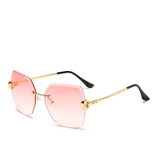 Gafas de Sol Sunglasses Gafas De Sol Sin Montura De Gran Tamaño A La Moda Vintage para Mujer, Diseño De Lujo Famoso, Gafas De Sol De Estilo Veraniego para Mujer SexisC