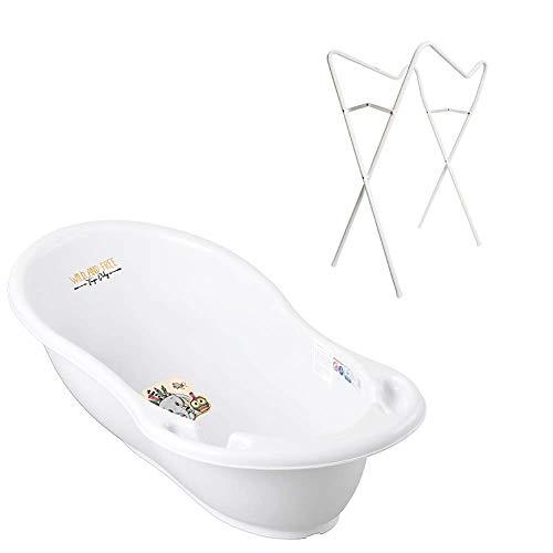Tega Baby Lot de 3 baignoires ergonomiques avec armature pliable + bouchon pour drainage de l'eau et thermomètre de bain pour bébé 0-12 mois Blanc Motif éléphant Blanc