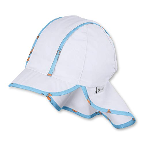 Sterntaler Baby-Jungen Schirmmütze Nackenschutz und Rand mit Hummer-Motiv Mütze, Weiß (Weiss 500), (Herstellergröße: 45)
