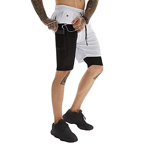 Yuson Girl 2in1 Short Deportivo Hombre Pantalones Cortos Deporte Hombre Pantalón Chandal Hombre con Auriculares, Toalla Colgable Lateral, Shorts Running Cómodo y Respirable