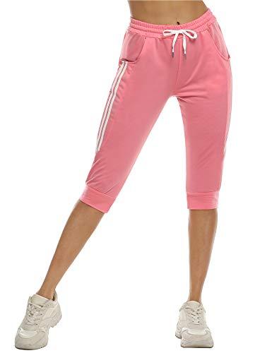 Doaraha Damen Caprihose 3/4 Jogginghose Shorts Trainingshose Elegant Leggings Relaxhose Yogahose mit Kontraststreifen für Sport und Freizeit, Rosa, L