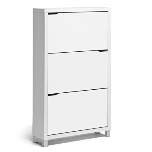 Baxton Studio Simms 3 Tier Modern Shoe Cabinet, White