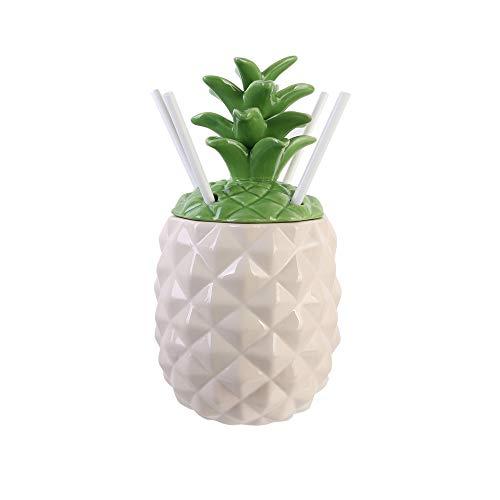 Pick and Drink KA3064 Coffret Cocktail Mason Jar Ananas, Ceramique-Gres, Blanc, 13,8x13,8x27