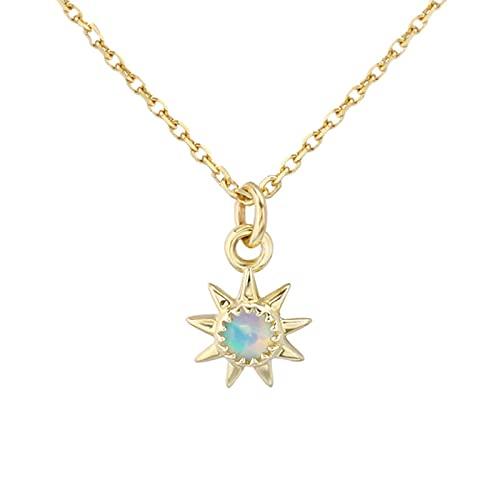 Oro 9k Collar De Sol Dorado con Cadena De Clavícula, Collar con Colgante De Sol De Moda, Collar De Amistad Exquisito para Mujer