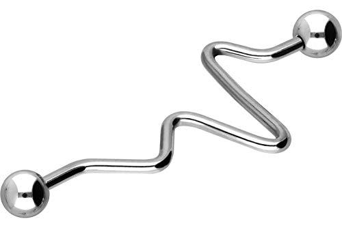 PIERCINGLINE Chirurgenstahl Industrial Ohrpiercing | HERZSCHLAGKURVE | Ohr - Stecker - Piercing - Schmuck | silberfarben