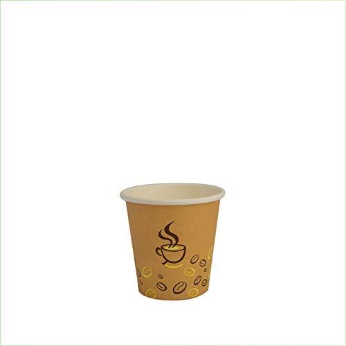 Palucart 500 Bicchieri in Carta per Caffe 75ml Colore Avana Chicco di Caffè biodegradabili cartoncino