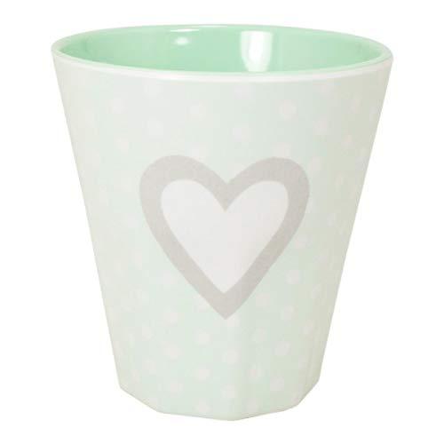 MEA LIVING Taza de melamina (250 ml), diseño de corazón, color menta
