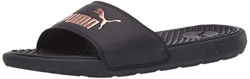 PUMA Women's Cool Cat Slide Sandal, Black-Rose Gold, 6 M US