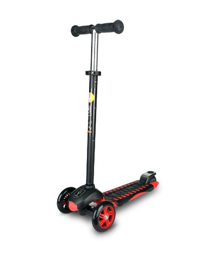 YBIKE GLX Pro Scooter, Black and Red Kick Scooter for Kids, 12cm