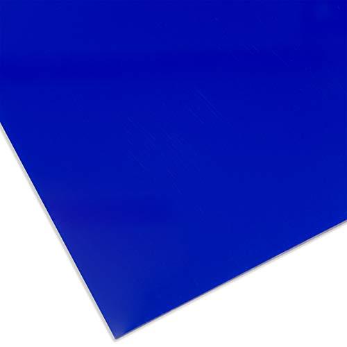 PLEXIGLAS® farbig, vielfältig nutzbares und bruchfestes Marken Acrylglas für Lichtobjekte etc, 3 mm dicke PLEXIGLAS® Platte in 12 x 25 cm, dunkelblau transparent (5C01)