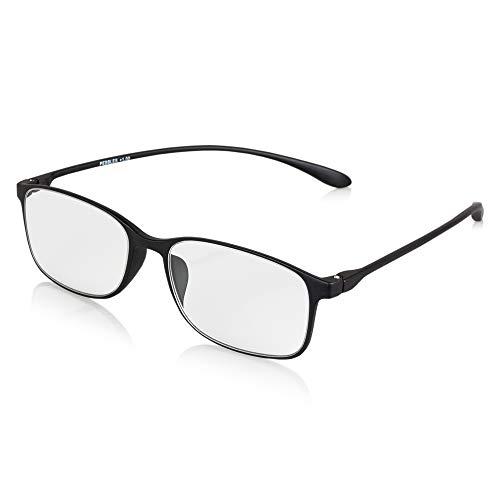 Demel Augenoptik Klassische Kunststoff-Lesebrille/Lesehilfe inkl. Brillenetui – Filigrane Kunststofflesehilfe in den Stärken 1,0 bis 3,0 Modell: Pebbles (Schwarz, 2.5)