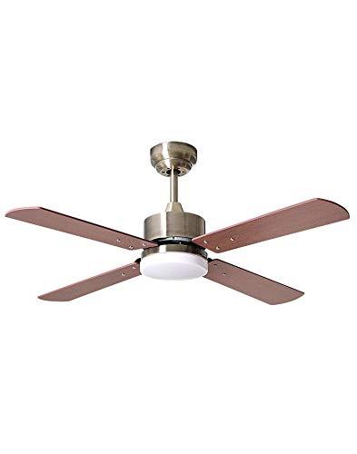 TODOLAMPARA - Ventilador de techo con luz LED 18W y motor DC modelo KARABURU Bronce, luz natural, 4 aspas reversibles Cerezo/Nogal, 6 velocidades, control remoto, tamaño mediano