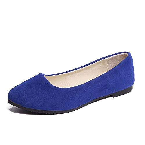 HANBINGPO Women Flats Slip on Flat Shoes Candy Color Woman Boat Shoes Black Loafers Faux Suede Ladies Ballet Flats, Royal Blue,7.5