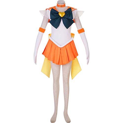 Baipin Disfraz Cosplay de Sailor Moon, Disfraz de Guerrera Luna Naranja Vestido y Guantes Blancos Arco de Princesa Vestido Uniforme de Juego para Mujer, Talla M, Longitud 82cm