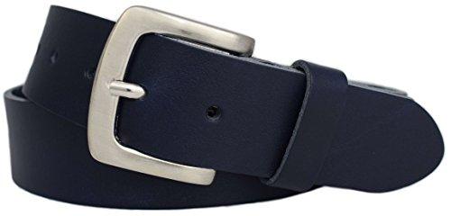Green Yard Stabiler Premium Vollledergürtel aus 100% echtem Leder, 4cm Breit Herrengürtel/Damengürtel Gr.-90 cm Bundweite = 105 cm Gesamtlänge, Navy-blau