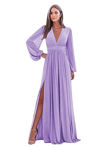 Long Sleeve Bridesmaid Dress for Women V Neck Formal Evening Dress Split Maternity DressesLavender Size 12