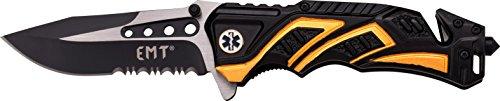 MTech USA Taschenmesser MT-A865 Serie, Messer DESIGNER ALU BLACK/ GELB Griff, scharfes Jagdmesser, Outdoormesser 8,89 cm ROSTFREI Klinge Halbgezahnt, Klappmesser für Angeln/ Jagd