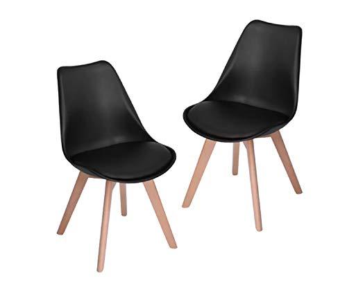 Set de 2 Sillas Eames Acojinadas Negro