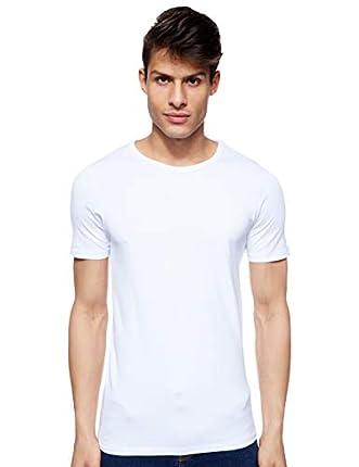 Jack & Jones Jones - Camiseta de manga corta con cuello redondo para hombre, color blanco (optical white), talla L