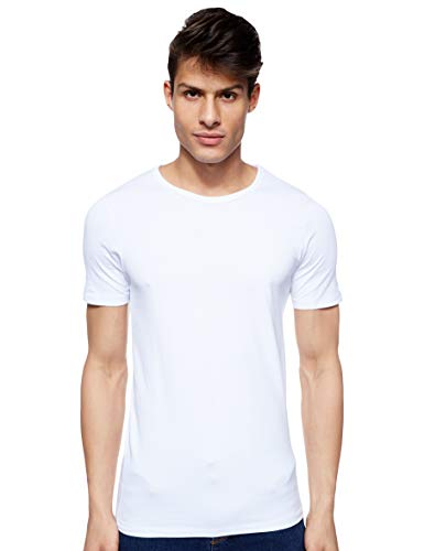 Jack & Jones Jones - Camiseta de manga corta con cuello redondo para hombre, color blanco (optical white), talla M