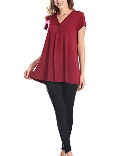 COLORFULLEAF WomensPajamasSet Short Sleeve Sleepwear Tunic Top & Capri Pants Loungewear Pjs Sets (Wine Red, S)
