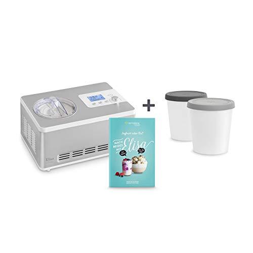 Eismaschine & Joghurtbereiter Elisa 2,0 L mit selbstkühlendem Kompressor 180W inkl. Aufbewahrungsbehälter 2er-Set, aus Edelstahl mit Kühl- und Heizfunktion, inkl. Rezeptheft