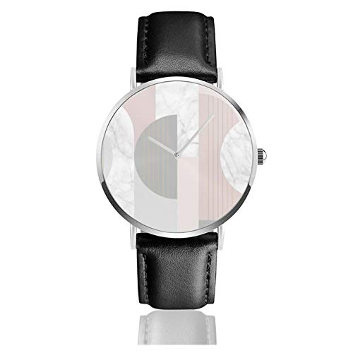 Graham & Brown Art Deco Blush Pink & Grau Geometrische Klassische Casual Quarzuhr Edelstahl Schwarz Lederarmband Uhren Armbanduhren