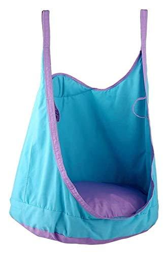 WERTYG Children Pod Swing Chair,Folding Hanging Hammock,Cotton Seat Swing Chair Nook Tent,75KG for Kids Indoor Bedroom Outdoor Tree Travel (Blue) (Color : Blue)