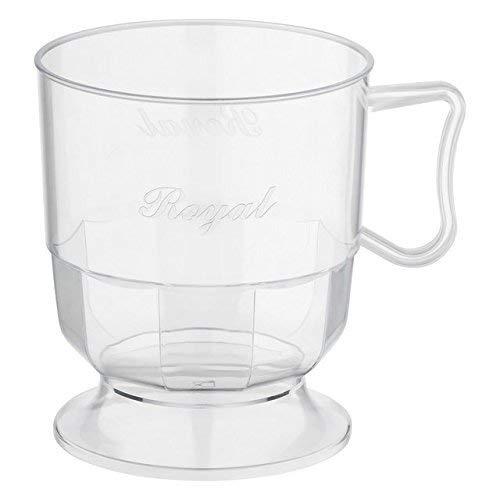 Silverkitchen 60x Einweg Henkeltasse transparent 200ml   Plastik Tasse mit Aufschrift Royal   Robustes Einweggeschirr hochwertige Qualität   für Kaffee Tee Glühwein Weihnachtsmarkt Catering