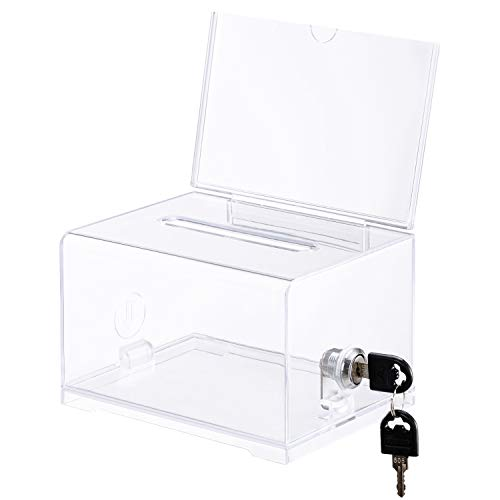 Polmart Acrylic Donation Box with Lock and Sign Holder, Ballot Box with Lock, Clear and Safe Suggestion Box with Lock - Drawing Box- Great for Business Cards (4.75