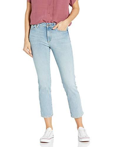 Amazon Brand - Goodthreads Women's Mid-Rise Crop Straight Jeans, Bleach Wash 24
