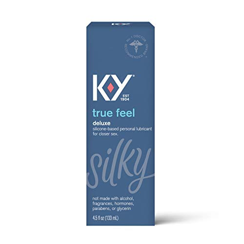 Sex Lube for Women, K-Y True Feel Premium Silicone Personal Lubricant for Sex, Safe to Use with Natural Rubber Latex Condoms, 4.5 oz (Packaging May Vary)