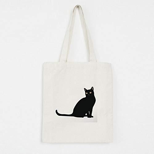 yywl Bolsa de algodón con letras, estampado de gato gráfico, bolsa de la compra, ecológica, para exteriores, moda, casual, plegable, grande