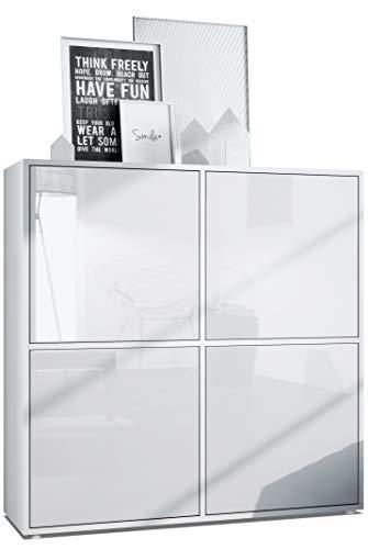 Vladon Highboard Cuba V2 Schrank 104 x 105,5 x 35,5 cm Sideboard mit 8 Fächern, Korpus in Weiß matt/Fronten in Weiß Hochglanz