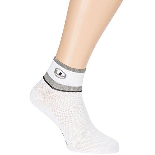 Ultrasport Technologie Coolmax et Coutures Lintoe Calcetines de Ciclismo, Unisex, Blanco/Gris/Negro, 39-42